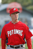 Potomac Nationals manager Tripp Keister (7) before a game against the Myrtle Beach Pelicans at Ticketreturn.com Field at Pelicans Ballpark on May 22, 2015 in Myrtle Beach, South Carolina.  Myrtle Beach defeated Potomac 8-4. (Robert Gurganus/Four Seam Images)