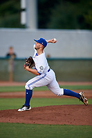 Bluefield Blue Jays relief pitcher Mike Pascoe (13) delivers a pitch during a game against the Bristol Pirates on July 26, 2018 at Bowen Field in Bluefield, Virginia.  Bristol defeated Bluefield 7-6.  (Mike Janes/Four Seam Images)