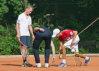 August 4, 2014, Netherlands, Dordrecht, TC Dash 35, Tennis, National Junior Championships, NJK,  Line discussion<br /> Photo: Tennisimages/Henk Koster