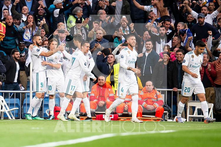 Real Madrid Karim Benzema, Luka Modric, Lucas Vazquez, Sergio Ramos and Marco Asensio celebrating a goal during Semi Finals UEFA Champions League match between Real Madrid and Bayern Munich at Santiago Bernabeu Stadium in Madrid, Spain. May 01, 2018. (ALTERPHOTOS/Borja B.Hojas)