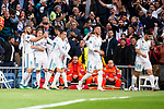 Real Madrid Karim Benzema, Luka Modric, Lucas Vazquez, Sergio Ramos and Marco Asensio celebrating a goal during Semi Finals UEFA Champions League match between Real Madrid and Bayern Munich at Santiago Bernabeu Stadium in Madrid, Spain. May 01, 2018. (ALTERPHOTOS/Borja B.Hojas)