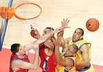 Maccabi Elites Tel Aviv's Alex Garcia and David Bluthenthal against  CSKA Moscow's Victor Khryapa and Langdon Trajan during Euroleague Final Four third place match, May 04, 2008. (ALTERPHOTOS/Alvaro Hernandez)