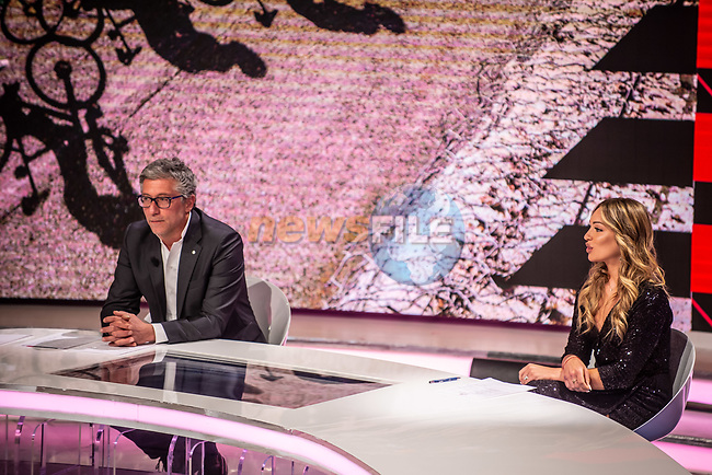 Francesco Pancaldi and Womens Elite Cyclist Letizia Paternoster at the presentation of the 2021 Giro d'Italia Route in the Rai Studios in Corso Sempione, Milan, Italy. 23rd February 2021.  <br /> Picture: LaPresse/Claudio Furlan   Cyclefile<br /> <br /> All photos usage must carry mandatory copyright credit (© Cyclefile   LaPresse/Claudio Furlan)