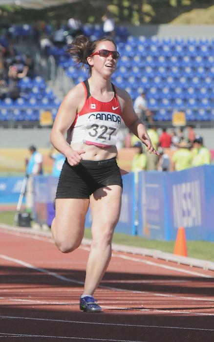 Jaqueline Rennebohm, Guadalajara 2011 - Para Athletics // Para-athlétisme.<br /> Jaqueline Rennebohm races in the 100m heats // Jaqueline Rennebohm court dans les manches du 100m. 11/14/2011.