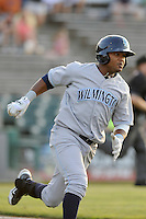 Right fielder Geulin Beltre (29) of the Wilmington Blue Rocks in a game against the Lynchburg Hillcats on Tuesday, June 25, 2013, at Calvin Falwell Field in Lynchburg, Virginia. Lynchburg won, 3-2. (Tom Priddy/Four Seam Images)