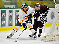 9 October 2009: University of Vermont Catamount forward Erin Barley-Maloney, a Freshman from Raleigh, NC, in first period action against the Union Dutchwomen at Gutterson Fieldhouse in Burlington, Vermont. The Catamounts shut out the visiting Dutchwomen 2-0 to start off the Cats' 2009 season. Mandatory Credit: Ed Wolfstein Photo