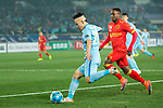 Jiangsu FC Midfielder Yang Xiaotian (L) in action against Adelaide United Defender Mark Ochieng (R) during the AFC Champions League 2017 Group H match between Jiangsu FC (CHN) vs Adelaide United (AUS) at the Nanjing Olympics Sports Center on 01 March 2017 in Nanjing, China. Photo by Marcio Rodrigo Machado / Power Sport Images