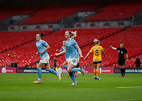 1st November 2020; Wembley Stadium, London, England; Womens FA Cup Final Football, Everton Womens versus Manchester City Womens; Sam Mewis of Manchester City celebrates after scoring her sides 1st goal in the 29th minute to make it 1-0