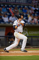 Pensacola Blue Wahoos Alex Kirilloff (19) at bat during a Southern League game against the Mobile BayBears on July 25, 2019 at Blue Wahoos Stadium in Pensacola, Florida.  Pensacola defeated Mobile 3-2 in the second game of a doubleheader.  (Mike Janes/Four Seam Images)