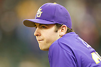 LSU Tigers pitcher Alex Lange (35) watches the action during the NCAA baseball game against the Baylor Bears on March 7, 2015 in the Houston College Classic at Minute Maid Park in Houston, Texas. LSU defeated Baylor 2-0. (Andrew Woolley/Four Seam Images)