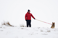 Pictured: Dog Walker in the snow at Libanus, in Brecon, Wales, UK. Friday 01 February 2019<br /> Re: Heavy snow and freezing temperatures affecting parts of the UK.