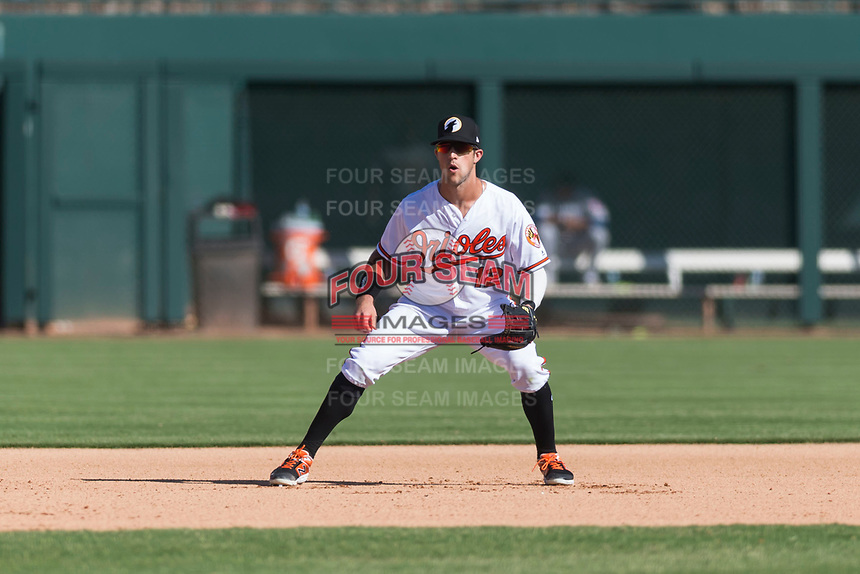 Glendale Desert Dogs third baseman Steve Wilkerson (12), of the Baltimore Orioles organization, during an Arizona Fall League game against the Mesa Solar Sox at Camelback Ranch on October 15, 2018 in Glendale, Arizona. Mesa defeated Glendale 8-0. (Zachary Lucy/Four Seam Images)