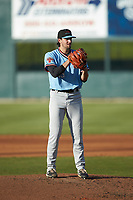 Hickory Crawdads starting pitcher Tim Brennan (15) looks to his catcher for the sign against the Kannapolis Intimidators at Kannapolis Intimidators Stadium on May 6, 2019 in Kannapolis, North Carolina. The Crawdads defeated the Intimidators 2-1 in game one of a double-header. (Brian Westerholt/Four Seam Images)