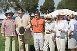 25 Apr 2009: 25 Apr 2009: Awards presentation for Perkedinthesand winning the Daniel Van Clief Memorial filly and mare allowance hurdle race at the Foxfield Races in Charlottesville, Virginia. Perkedinthesand is owned by Mrs. S. K. Johnston, Jr; trained by Jack Fisher and ridden by Jeff Murphy.