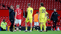 Brentford Manager, Thomas Frank with Manchester United's Donny Van De Beek at the final whistle during Manchester United vs Brentford, Friendly Match Football at Old Trafford on 28th July 2021