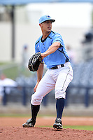 Charlotte Stone Crabs pitcher Ryan Garton (8) delivers a pitch during a game against the Fort Myers Miracle on April 16, 2014 at Charlotte Sports Park in Port Charlotte, Florida.  Fort Myers defeated Charlotte 6-5.  (Mike Janes/Four Seam Images)