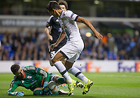 Goalkeeper Ibrahim Sehic of Qarabag FK pulls off a save from Erik Lamela of Tottenham Hotspur during the UEFA Europa League match between Tottenham Hotspur and Qarabag FK at White Hart Lane, London, England on 17 September 2015. Photo by Andy Rowland.
