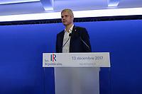 LAURENT WAUQUIEZ (PRESIDENT DES REPUBLICAINS) - POINT PRESSE DE LAURENT WAUQUIEZ AU QG DES REPUBLICAINS A PARIS, FRANCE, LE 13/12/2017.