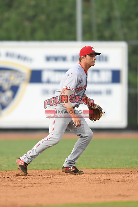 Tyler Callihan (2) of the Greeneville Reds in action during a game against the Bristol Pirates at Boyce Cox Field on July 31, 2019 in Bristol, Virginia. The Pirates defeated the Reds 13-3. (Tracy Proffitt/Four Seam Images)