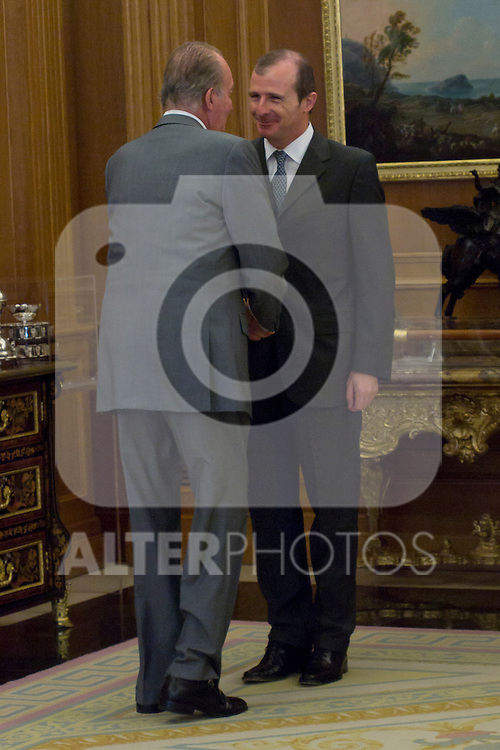 12.09,2012. King Juan Carlos I of Spain attend the delivery of 'XXIII FIES Journalism Award', awarded to Juan Manuel de Prada at the Zarzuela Palace. In the image (L-R) King Juan Carlos of Spain and Rafael Guardans  (President of FIES).  (Alterphotos/Marta Gonzalez)