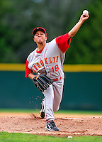 21 August 2010: Brooklyn Cyclones pitcher Angel Cuan in action against the Vermont Lake Monsters at Centennial Field in Burlington, Vermont. The Cyclones defeated the Lake Monsters 8-7 in a 12-inning game that had to be resumed in Brooklyn on August 31 due to late inning rain. Mandatory Credit: Ed Wolfstein Photo