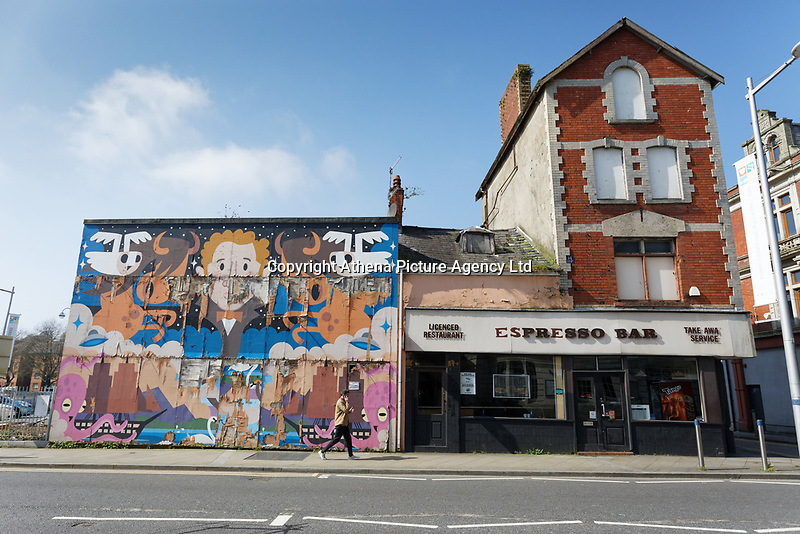 Pictured: A cafe which recently closed down in the High Street, Swansea, Wales, UK.<br /> Re: The owner of The White Swan pub is closing down after anti-social behaviour, violence, drugs and prostitution in the High Street, Swansea, Wales, UK.