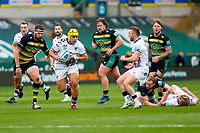 21st March 2021; Franklin's Gardens, Northampton, East Midlands, England; Premiership Rugby Union, Northampton Saints versus Bristol Bears; Will Capon of Bristol Bears breaks through the Northampton Saints defence