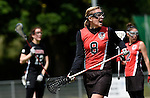 GER - Hannover, Germany, May 30: During the Women Lacrosse Playoffs 2015 match between DHC Hannover (black) and SC Frankfurt 1880 (red) on May 30, 2015 at Deutscher Hockey-Club Hannover e.V. in Hannover, Germany. Final score 23:3. (Photo by Dirk Markgraf / www.265-images.com) *** Local caption *** Inga Hupka #8 of SC 1880 Frankfurt