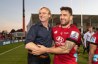 Crusaders coach Scott Robertson with Codie Taylor after winning the 2020 Super Rugby match between the Crusaders and Highlanders at Orangetheory Stadium in Christchurch, New Zealand on Saturday, 9 August 2020. Photo: Joe Johnson / lintottphoto.co.nz