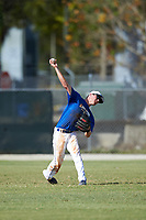 Illinois College Blueboys center fielder Austin Gusewelle (8) throws the ball in during a game against the Edgewood Eagles on March 14, 2017 at Terry Park in Fort Myers, Florida.  Edgewood defeated Illinois College 11-2.  (Mike Janes/Four Seam Images)