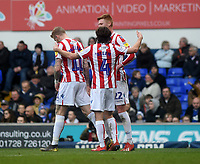 Stoke City's James McClean celebrates scoring his side's first goal  with team mates  Joe Allen and Sam Clucas<br /> <br /> Photographer Hannah Fountain/CameraSport<br /> <br /> The EFL Sky Bet Championship - Ipswich Town v Stoke City - Saturday 16th February 2019 - Portman Road - Ipswich<br /> <br /> World Copyright © 2019 CameraSport. All rights reserved. 43 Linden Ave. Countesthorpe. Leicester. England. LE8 5PG - Tel: +44 (0) 116 277 4147 - admin@camerasport.com - www.camerasport.com