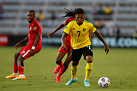 July 16th 2021; Orlando, Florida, USA; Jamaica forward Leon Bailey during the Concacaf Gold Cup match between Guadeloupe and Jamaica on July 16, 2021 at Exploria Stadium in Orlando, Fl.