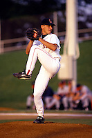 Lynchburg Red Sox pitcher Tim Van Egmond during a game versus the Salem Buccaneers at Lynchburg City Stadium in Lynchburg, Virginia during the summer of 1992.  (Ken Babbitt/Four Seam Images)