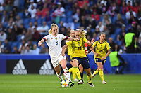 LE HAVRE, FRANCE - JUNE 20: Samantha Mewis #3, Amanda Ilestedt #13 during a 2019 FIFA Women's World Cup France group F match between the United States and Sweden at Stade Océane on June 20, 2019 in Le Havre, France.
