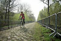 Greg Van Avermaet (BEL/BMC) at sector 18: Pavé de la Trouée d'Arenberg<br /> <br /> 2014 Paris-Roubaix reconnaissance