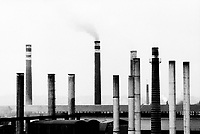 """Poland. Silesia. Chorsow. """" Hutta Kosciuszko """" is the factory's name. Major polluted area due to old iron and steel works and heavy metals suspended in the air. Chorsow is a small town, distant 20 km from Katowice. © 1991 Didier Ruef"""