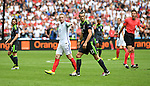 England Captain Wayne Rooney marks Gareth Bale of Wales at the Stade Bollaert-Delelis in Lens, France this afternoon during their Euro 2016 Group B fixture.