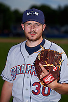 Mahoning Valley Scrappers pitcher Devon Stewart (30) poses for a photo before a game against the Batavia Muckdogs on July 3, 2015 at Dwyer Stadium in Batavia, New York.  Batavia defeated Mahoning Valley 7-4.  (Mike Janes/Four Seam Images)