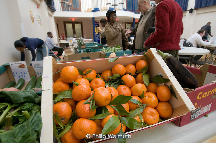 Fruit and vegetables for sale at a weekly food-coop run by North Paddington Fruit & Veg Project at the Beethoven Centre, Queens Park, London