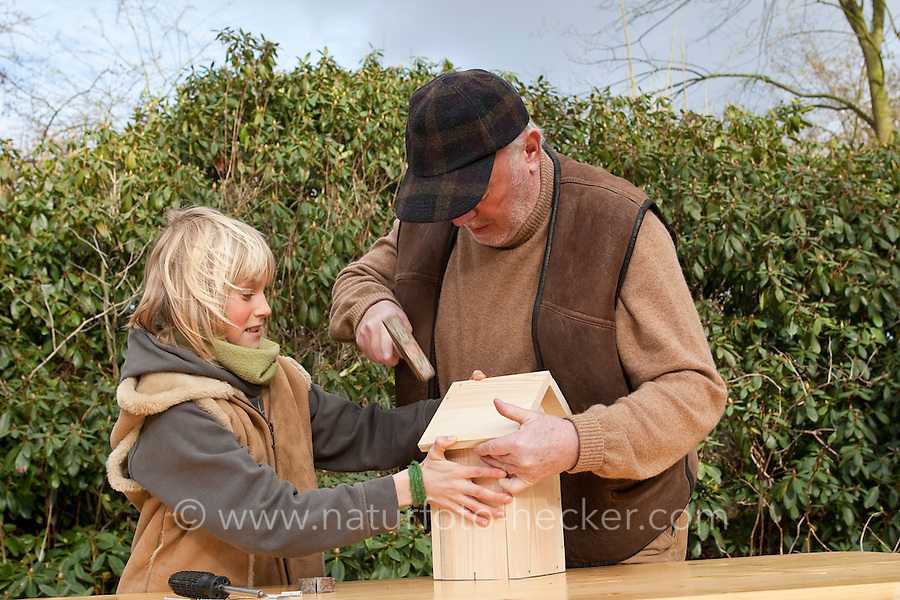 Nistkastenbau, Großvater, Opa und Enkelkind, Kind bauen gemeinsam einen Vogel-Nistkasten für Meisen aus Holz, fertiger Bausatz