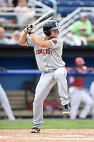 Connecticut Tigers shortstop Garrett Mattlage (1) at bat during the first game of a doubleheader against the Batavia Muckdogs on July 20, 2014 at Dwyer Stadium in Batavia, New York.  Connecticut defeated Batavia 5-3.  (Mike Janes/Four Seam Images)