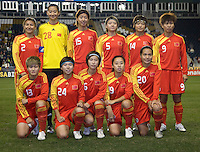 China lines up before an international friendly at PPL Park in Chester, PA.  The U.S. tied China, 1-1.