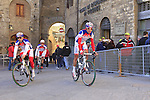 Androni Giocattoli team riders make their way to sign on before the start of the 2015 Strade Bianche Eroica Pro cycle race 200km over the white gravel roads from San Gimignano to Siena, Tuscany, Italy. 7th March 2015<br /> Photo: Eoin Clarke www.newsfile.ie
