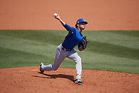 Dunedin Blue Jays relief pitcher Emerson Jimenez (41) during a Florida State League game against the Charlotte Stone Crabs on April 17, 2019 at Charlotte Sports Park in Port Charlotte, Florida.  Charlotte defeated Dunedin 4-3.  (Mike Janes/Four Seam Images)