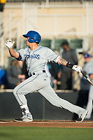 Colton Welker (24) of the Asheville Tourists follows through on his swing against the Kannapolis Intimidators at Kannapolis Intimidators Stadium on May 6, 2017 in Kannapolis, North Carolina.  The Intimidators walked-off the Tourists 7-6.  (Brian Westerholt/Four Seam Images)