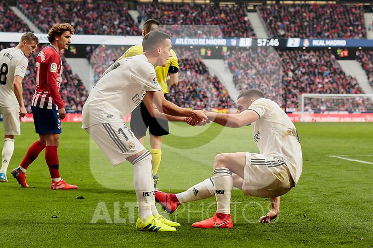 Real Madrid's Dani Carvajal (L) and Lucas Vazquez (R) during La Liga match between Atletico de Madrid and Real Madrid at Wanda Metropolitano Stadium in Madrid, Spain. February 09, 2019. (ALTERPHOTOS/A. Perez Meca)