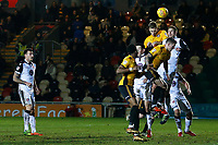 Mickey Demetriou of Newport County heads the ball during a corner in the Sky Bet League Two match between Newport County and Morcambe at Rodney Parade, Newport, Wales, UK. 23 January 2018
