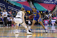GREENSBORO, NC - MARCH 05: Dayshanette Harris #1 of University of Pittsburgh is defended by Lotta-Maj Lahtinen #31 of Georgia Tech during a game between Pitt and Georgia Tech at Greensboro Coliseum on March 05, 2020 in Greensboro, North Carolina.