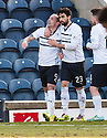 Raith Rovers' Mark Stewart (9) is congratulated by Rory McKeown (23) after he scores their first goal.