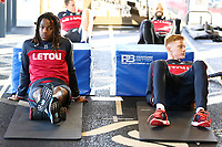 (L-R) Renato Sanches and Sam Clucas exercise in the gym during the Swansea City Training at The Fairwood Training Ground, Swansea, Wales, UK. Friday 15 December 2017